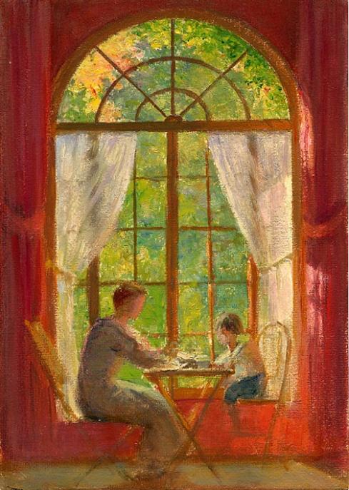 e-rosset-granger-huile-sur-carton-1918-270-x-190-marcelle-la-femme-du-peintre-et-pierre-dehay-5-ans-leur-neveu-a-puy-pres-de-dieppe