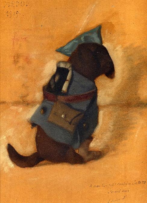 e-rosset-granger-huile-sur-carton-1919-315-x-243-medor-le-chien-habille-en-poilu-de-pierre-dehay-dedicace-a-mon-bon-petit-confrere-la-totte-signe-edouard