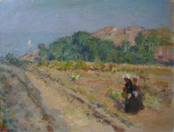 e-rosset-granger-huile-sur-carton-1926-27-muzii-ou-tempera-brillante-210-x-270-deux-bellilloises-dans-le-vallon-de-ramonette-belle-isle