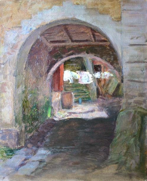 e-rosset-granger-huile-sur-carton-1927-muzii-ou-tempera-brillante-270-x-215-le-palais-lentree-de-la-cour-du-menuisier-le-gallo-belle-isle