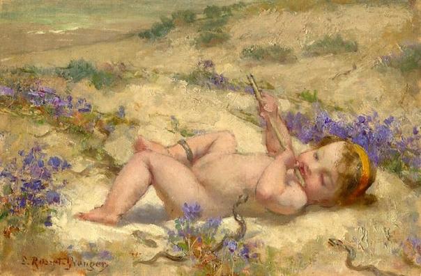 e-rosset-granger-huile-sur-panneau-158-x-238-bebe-a-la-flute-charmant-des-serpents-signe-erb