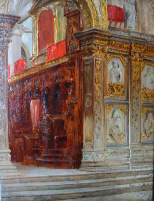 e-rosset-granger-huile-sur-panneau-1882-acajou-350-x-280-santa-maria-del-popolo-a-rome-boiseries-renaissance-au-dos-vente-rosset-granger-1942