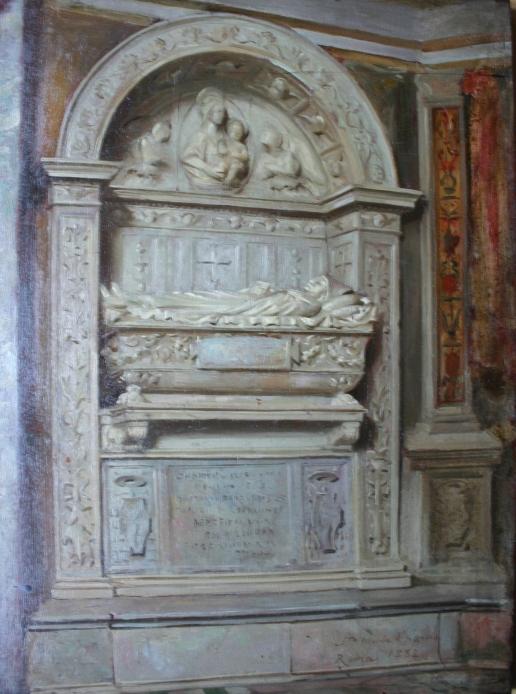 e-rosset-granger-huile-sur-panneau-1882-acajou-350-x-280-santa-maria-del-popolo-a-rome-tombeau-renaissance