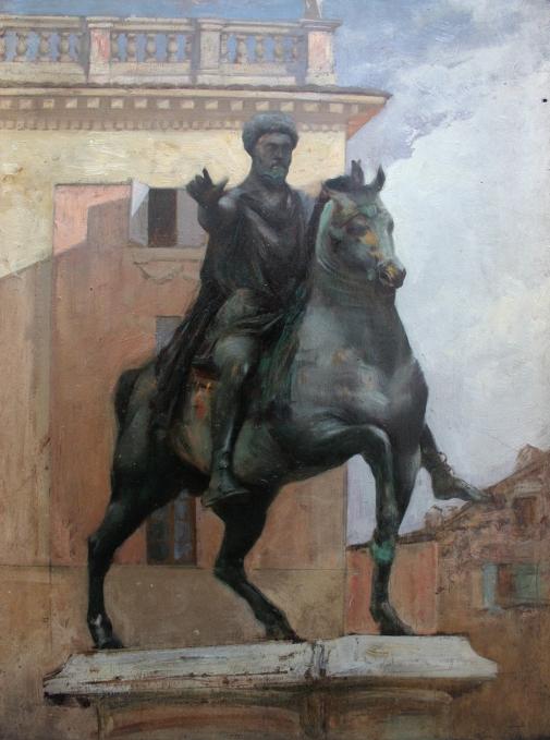 e-rosset-granger-huile-sur-panneau-1882-acajou-398-x-285-statue-equestre-de-marc-aurele-a-rome-italie