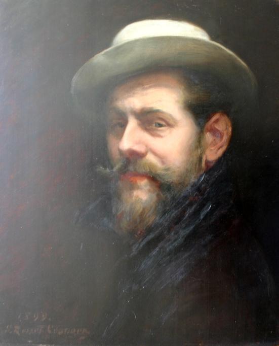 e-rosset-granger-huile-sur-panneau-1899-acajou-460-x-360-autoportrait-au-chapeau-signee-erg-et-datee-1899