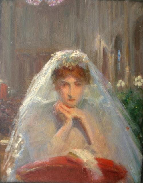 e-rosset-granger-huile-sur-panneau-1907-acajou-396-x-286-esquisse-pour-la-toile-au-pied-de-lautel-salon-de-1907
