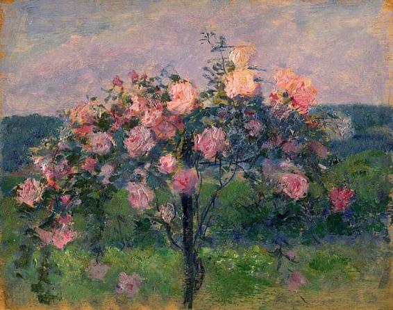 e-rosset-granger-huile-sur-panneau-1910-1925-muzii-ou-tempera-brillante-215-x-270-rosiers-en-fleurs-a-bizy-pres-de-vernon-chez-le-peintre-alfred-agache