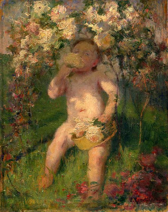 e-rosset-granger-huile-sur-panneau-1912-270-x-215-cherubin-au-biberon-sous-un-arbre-en-fleurs-etude-du-bebe-de-droite-de-la-toile-dans-les-vignes-1912-signe-erg