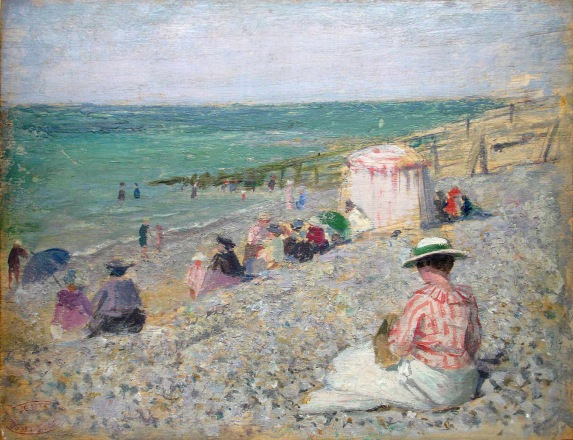 e-rosset-granger-huile-sur-panneau-1917-215-x-270-sur-la-plage-a-puy-pres-de-dieppe-coll-daniel-guyonnet-don-pierre-dehay