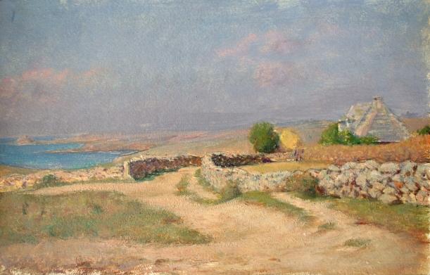 e-rosset-granger-huile-sur-papier-1919-231-x-367-maisons-et-murets-en-bord-de-mer-pres-de-raguenes