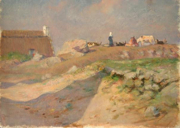 e-rosset-granger-huile-sur-papier-1919-271-x-370-paysanne-et-vaches-pres-dune-maison-environs-de-pont-aven