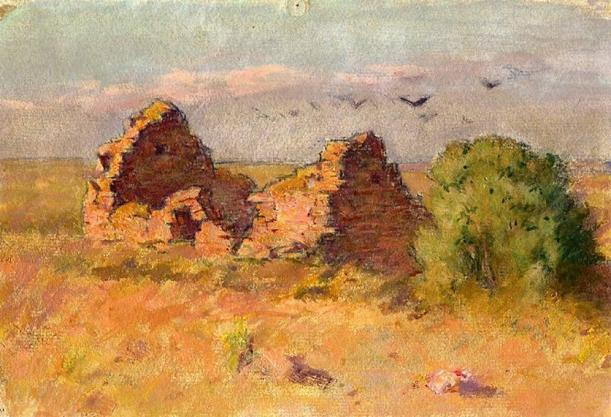 e-rosset-granger-huile-sur-papier-1926-172-x-247-ruines-vers-le-palais-belle-isle