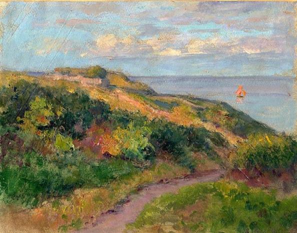 e-rosset-granger-huile-sur-papier-1926-27-205-x-260-voile-rouge-en-bord-de-mer-a-port-guen-belle-isle-en-mer