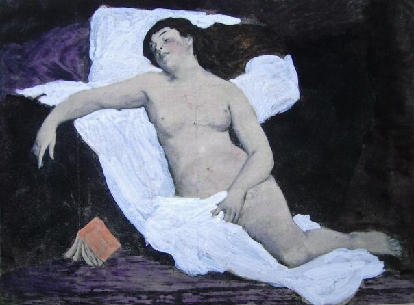 E.ROSSET-GRANGER Huile sur toile 1885 Nu au livre tombé des mains 1170 x 1600 (Gil Blas 1894)