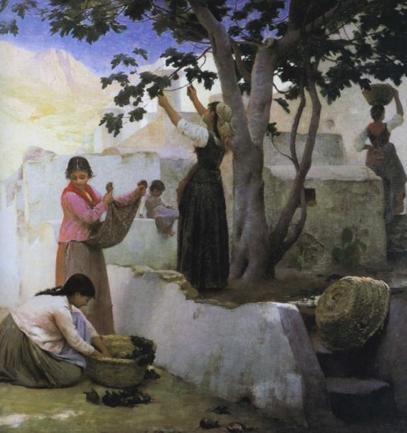 e-rosset-granger-huile-sur-toile-1887-la-cueillette-des-figues-a-capri-musee-granet-aix-en-provence