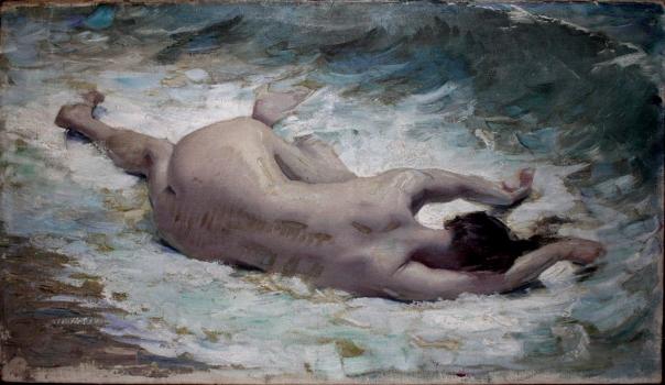 E.ROSSET-GRANGER Huile sur toile 1892 L'Epave, Etude préparatoire 420 x 700 (Cachet Atelier au dos) Vendu Ebay 12.12.2016 pour 882 €uros