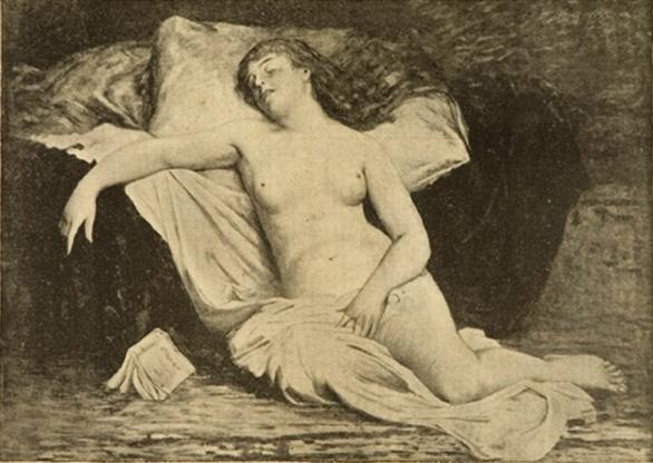 e-rosset-granger-huile-sur-toile-1894-etude-de-nu-feminin-au-livre-tombe-des-mains-grand-format-installe-dans-latelier-de-erg