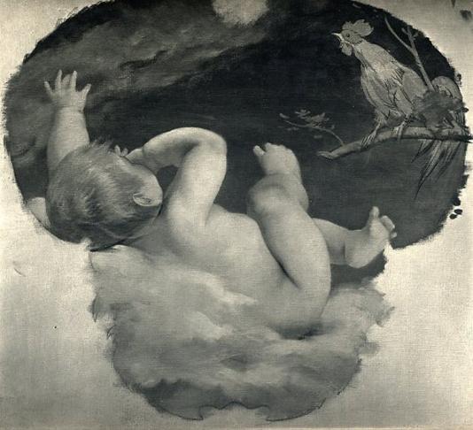 e-rosset-granger-huile-sur-toile-1910-12-bebe-avec-un-coq-dans-les-nuages