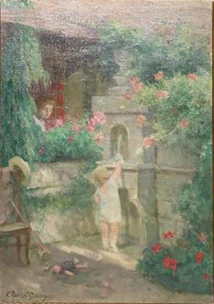 E.ROSSET-GRANGER Huile sur toile 1910-1912 460 x 330 Enfant à la fontaine. Vendu HDV Marseille 27.01.18 350 € HT (2)