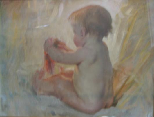 e-rosset-granger-huile-sur-toile-1910-marouflee-sur-panneau-370-x-460-bebe-assis-etude-pour-le-tub