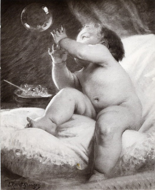 e-rosset-granger-huile-sur-toile-1912-la-bulle-de-savon-snba-paris-1912