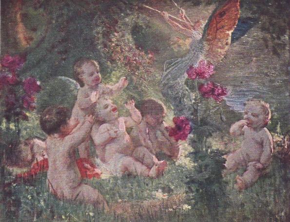 e-rosset-granger-huile-sur-toile-1914-au-pays-des-fees-ou-angelots-au-milieu-des-fleurs-1-salon-ste-nationale-des-beaux-arts-de-paris-1914