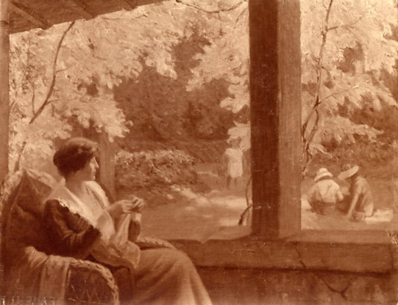 e-rosset-granger-huile-sur-toile-1918-1922-marcelle-tricotant-souvenir-dun-sejour-a-puy-pres-de-dieppe-en-1917