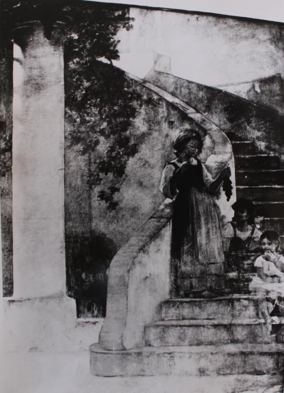 e-rosset-granger-huile-sur-toile-1918-3250-x-2250-jeune-napolitaine-a-la-grappe-de-raisin-dans-un-escalier-hopital-broca-salle-recamier-a-paris