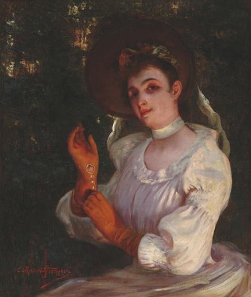 e-rosset-granger-huile-sur-toile-620-x-500-jeune-femme-au-corsage-blanc-retirant-ses-gants-vendu-millon-9-02-05-1500-e