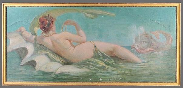 e-rosset-granger-huile-sur-toile-740-x-1810-femme-allongee-denudee-avec-un-dauphin-dans-leau-vente-chattanooga-tennessee-6-03-2010