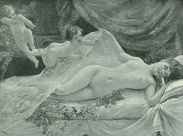 e-rosset-granger-huile-sur-toile-deux-cupidons-et-la-femme-nue-allongee-sur-son-lit