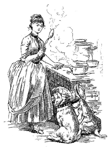 e-rosset-granger-illustration-09-1886-le-docteur-modesto-15-page-292-madame-alice-aux-fourneaux-avec-deux-chiens-a-ses-pieds-septembre-1886