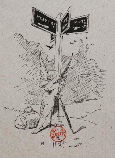 e-rosset-granger-illustration-10-1886-le-docteur-modesto-13-un-ange-perdu-a-cote-dun-quadruple-panneau-indicateur-page-85-revue-les-lettres-et-les-arts-oct-1886-bnf