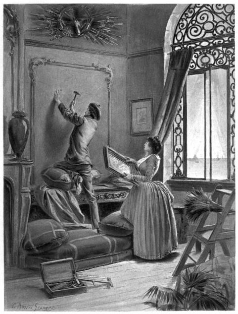 e-rosset-granger-illustration-10-1886-le-docteur-modesto-5-aquarelle-installation-accrochage-dune-toile-revue-les-lettres-et-les-arts-oct-1886-page-72a-hors-texte