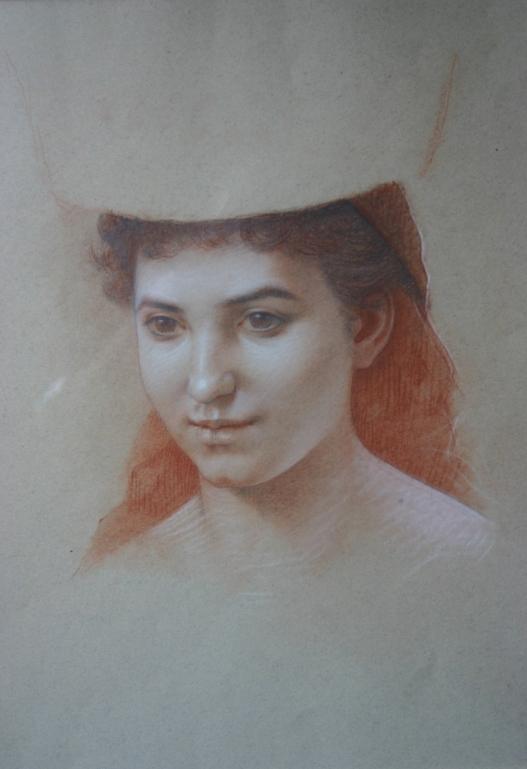 e-rosset-granger-portait-de-jeune-femme-portant-un-chapeau-esquisse-craies-de-couleurs-342-x-277