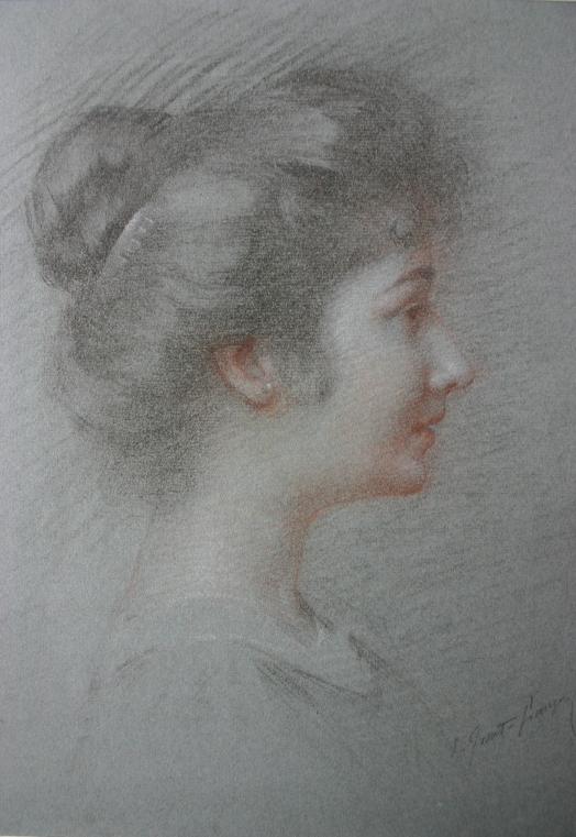 e-rosset-granger-portrait-de-jeune-femme-avec-chignon-de-profil-signe-craies-de-couleurs-340-x-260