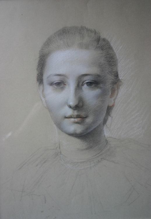 e-rosset-granger-portrait-de-jeune-femme-cheveux-tires-en-arriere-craies-de-couleurs-390-x-287